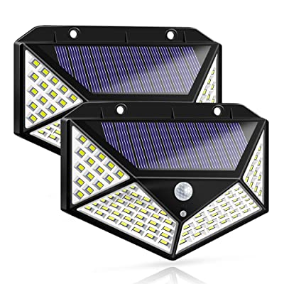 Solar Lights Outdoor, Solar Powered Motion Sensor Lights 100 LEDs Outdoor Waterproof Wall Light Night Light with 3 Modes with 270° Wide Angle for Garden, Patio Yard, Deck Garage, Fence - 2 Pack: Home Improvement