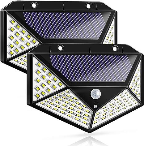 100 LED Solar Power PIR Motion Sensor Wall Light Outdoor Garden Lamp Waterproof*