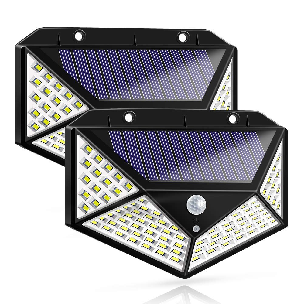 Solar Lights Outdoor, Solar Powered Motion Sensor Lights 100 LEDs Outdoor Waterproof Wall Light Night Light with 3 Modes with 270° Wide Angle for Garden, Patio Yard, Deck Garage, Fence - 2 Pack by Warmtaste