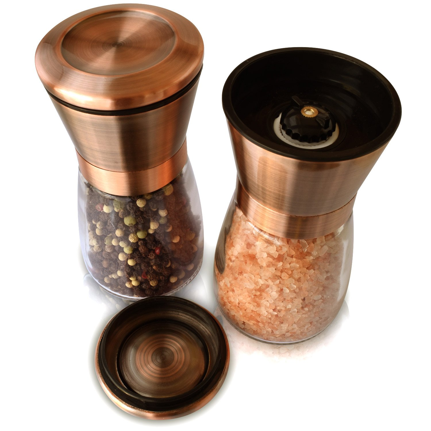Copper Salt & Pepper Premium Grinder and Shaker - Set of 2 - Rust Proof 18/8 Stainless Steel Lids and Glass Shakers, Grinder/Mill with Adjustable Coarseness | by Premium Home Quality (6oz) by Premium Home Quality
