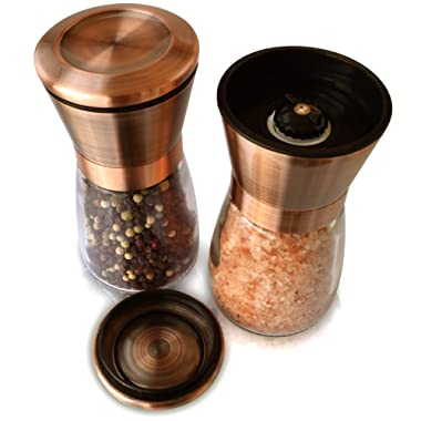 Copper Salt & Pepper Premium Grinder and Shaker - Set of 2 - Rust Proof 18/8 Stainless Steel Lids and Glass Shakers, Grinder/Mill with Adjustable Coarseness | by Premium Home Quality (6oz)