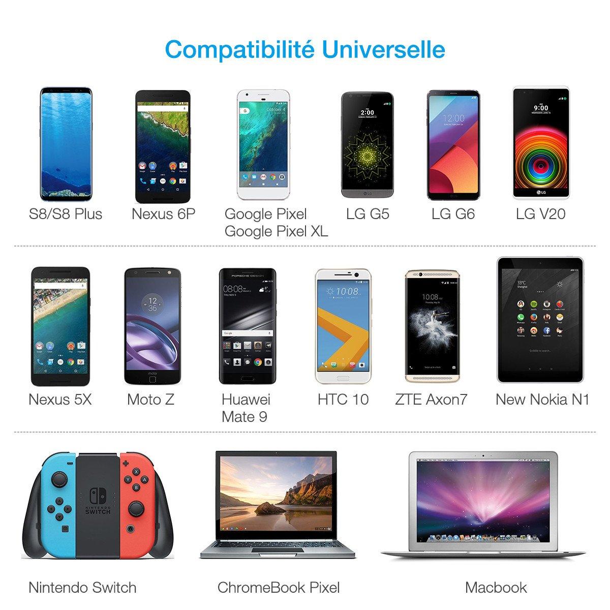 Poweradd Câble de Chargeur de Type-C [ Lot de 3] Câble USB Type C à USB, Cordon de Charge Rapide et de Synchronisation en Nylon Tressé pour S8/S8 plus, Nexus 6P,Macbook et d\'autres Appareils