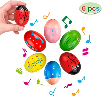 CREPRO Egg Shakers Maracas for Kids, 6 Pack Wooden Percussion Musical Egg Easter Maracas Egg Shakers Musical Instrument Toys with Assorted Colors Easter Designs for Girls, Boys