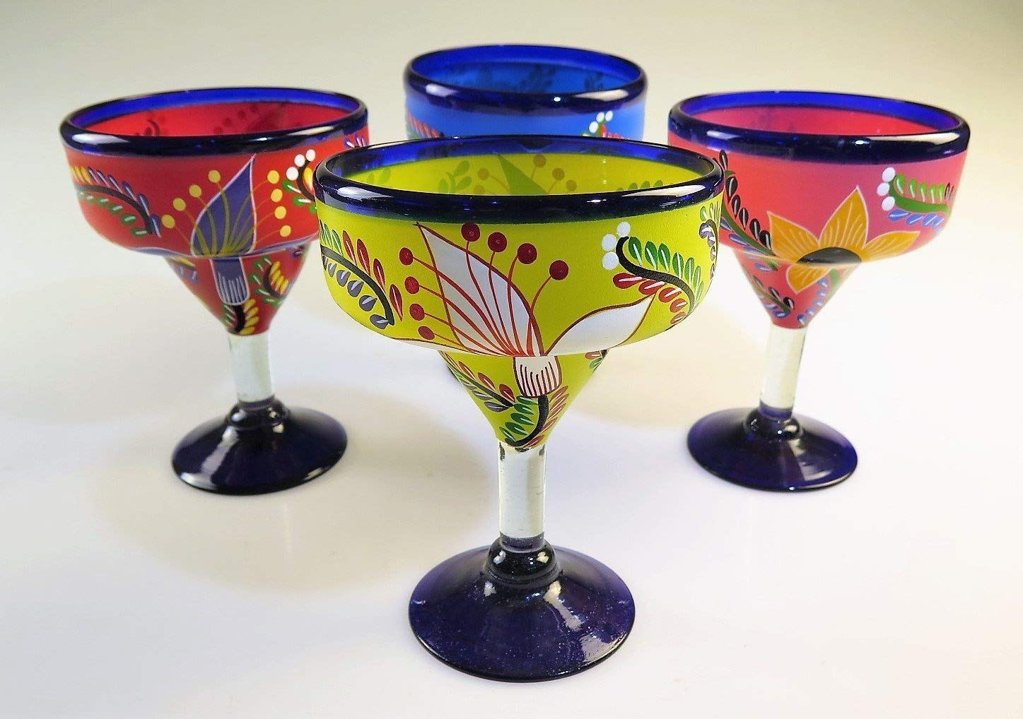 Mexican Glass Margarita Hand Painted Flowers, Mixed, 14 Oz, Set of 4 Eye4Art