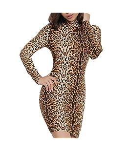 beautyjourney Vestido Corto Ajustado de Las Mujeres, Vestido de Manga Larga con Estampado de Leopardo en Cuello Alto Estiramiento Delgado Mini Vestido Clubwear