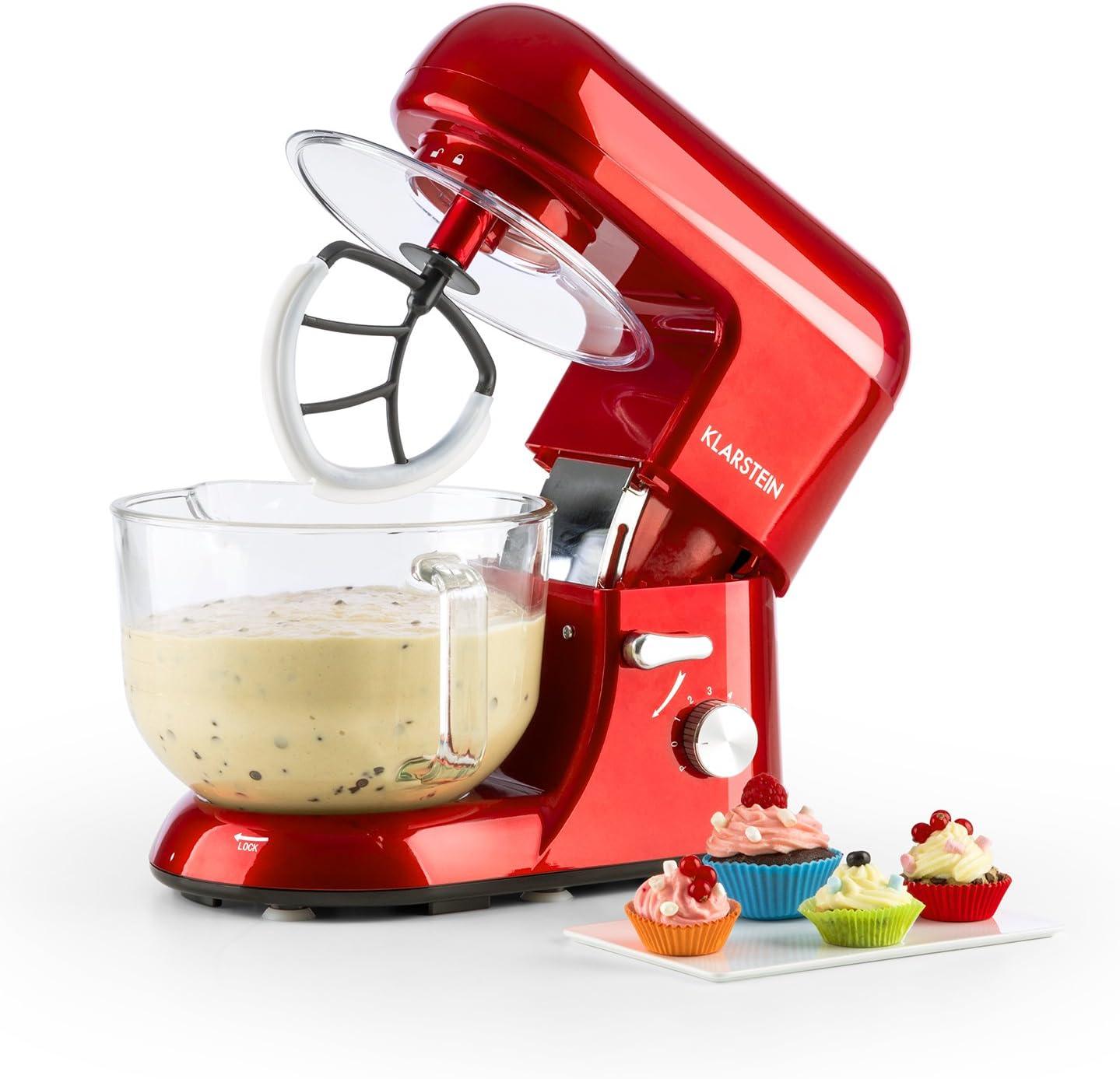 Klarstein - Bella Rossa 2G, Robot de Cocina, Mezcla, Amasadora, Batidora, 1200W, 2,5 a 5,2 L, Bol Cristal, 6 velocidades, Función Pulso, Sistema de Mezcla planetaria, Gancho amasar, Rojo