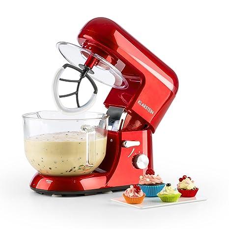 Klarstein - Bella Rossa 2G , Robot de Cocina , Mezcla , Amasadora , Batidora , 1200W , 2,5 a 5,2 L , Bol Cristal , 6 velocidades , Función Pulso , ...