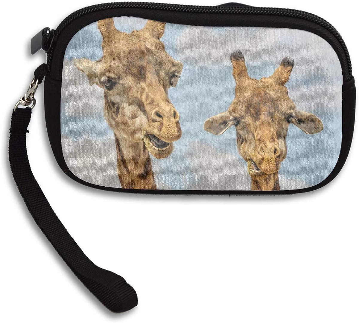 Giraffe Animals Zoo Funny Deluxe Printing Small Purse Portable Receiving Bag