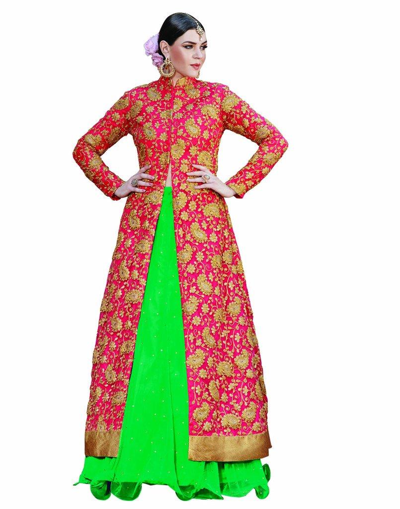DesiButik's Wedding Wear Magnificent Green Net Lehenga