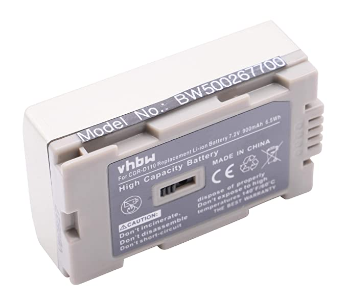 BATER/ÍA LI-Ion en Color Plata PANASONIC HITACHI sustituye VSB0418 VW-VBD20 VW-VBD25 CGR-D110 CGR-D120 CGR-D220 CGR-D220E//1B CGR-D320