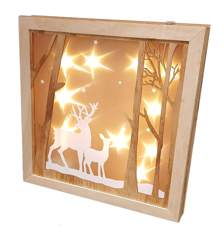 LED Weihnachtsdeko Rentier 30 cm Holz Fensterdeko beleuchtet Hologramm Effekt