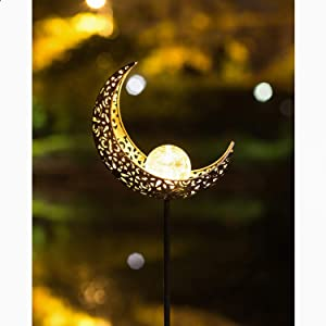 SFgift Garden Solar Lights Pathway Outdoor Brozen Moon Crackle Glass Globe Stake Metal Lights,Waterproof Warm White LED for Lawn,Patio or Courtyard