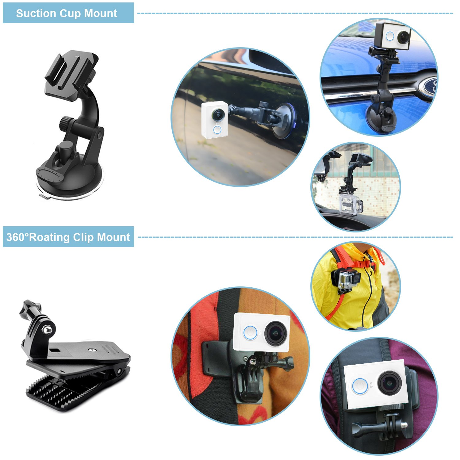 Accessories for GoPro Hero 7 6 5 Action Camera Accessories Kits for Go Pro Hero 2018 Hero Session 5 4 3 2 1 AKASO EK7000 Apeman and Most of Sports Camera by LUSCREAL.