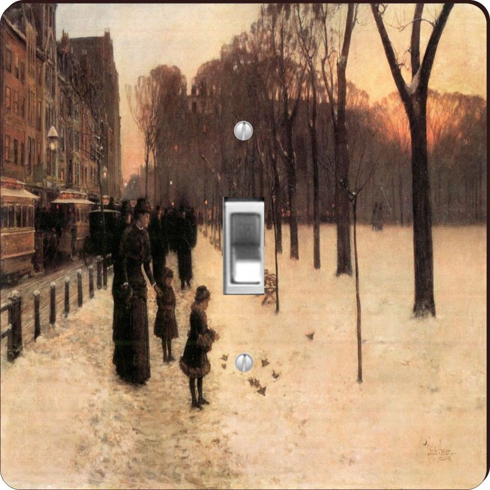 Rikki Knight RK-LSPS-2956 Childe Hassam Art Boston In Everyday Twilight Design Light Switch Plate Cover