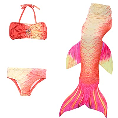 Himine Girls 3 Pcs Mermaid Tail Swimsuit Bathingsuit Bikini Costume: Clothing