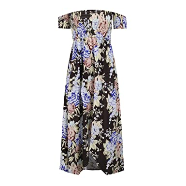 970be32bdd87 Women Off Shoulder Floral Print Boho Style Dress Sexy Beach Summer Dresses  Split Long Maxi Dress