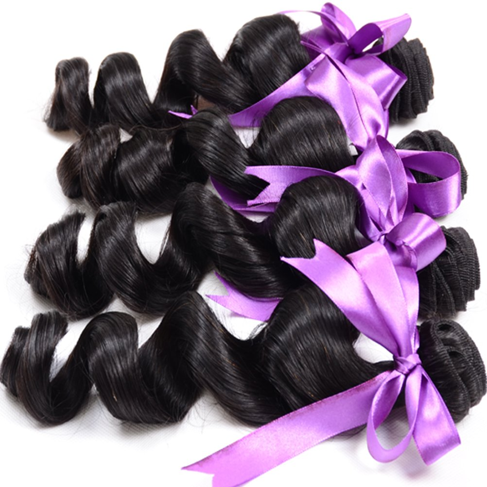 Loose Wave Brazilian Hair 8A Brazilian Loose Wave 3 Bundles Unprocessed Human Hair Extensions Mink Hair Bundles Wet and Wavy Human Hair Natural Black (20'' 22'' 24'') by Shireen Hair (Image #3)
