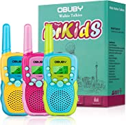 Obuby Walkie Talkies for Kids, 22 Channels 2 Way Radio Kid Gift Toy 3 KMs Long Range with Backlit LCD Flashlight Best Gifts T
