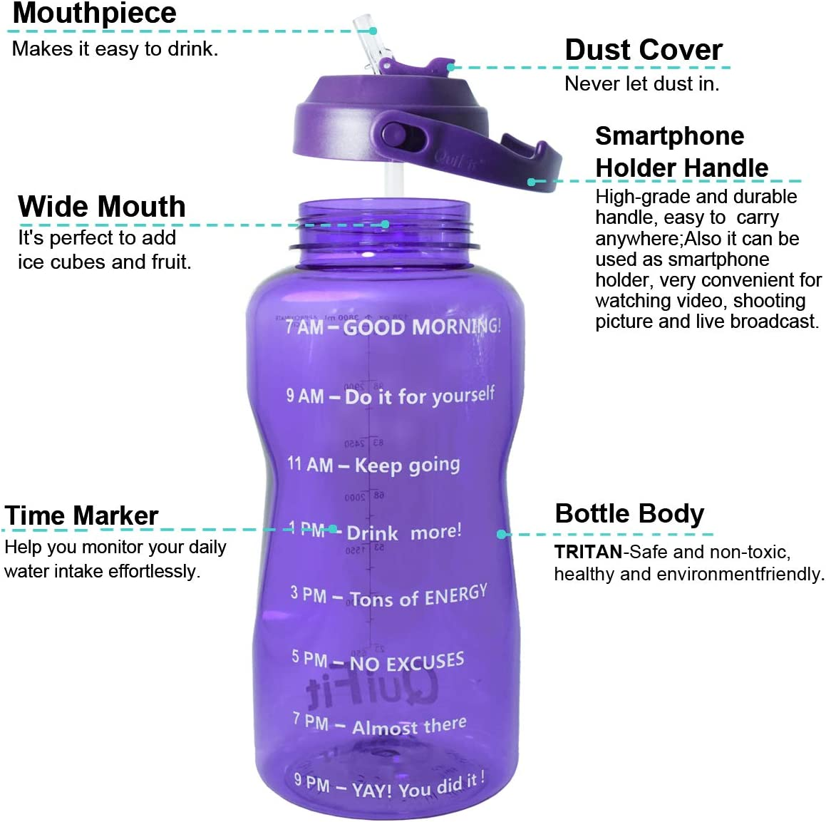 QuiFit Motivational Gallon Water Bottle with Straw /& Time Marker BPA Free 128//64 oz Large Water Jug Leak-Proof Durable for Fitness Outdoor Enthusiasts