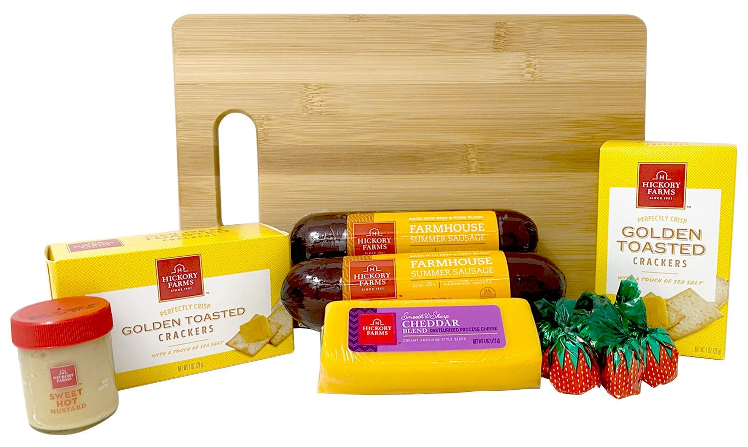 Hickory Farms Meat and Cheese Gift Baskets Farm House Collection With Exclusive Bamboo Cutting Board Bundle - 1.43 lbs Christmas Food Gifts Including Summer Sausage, Cheese, Mustard, and Crackers