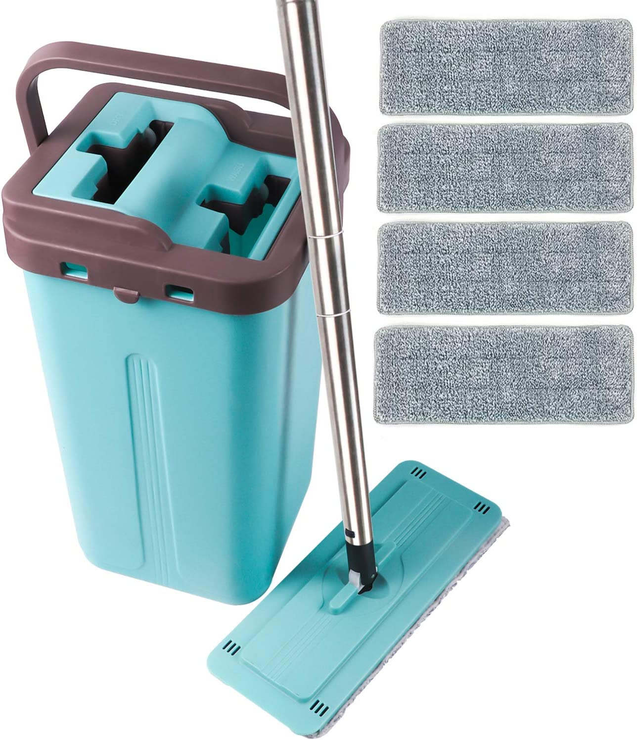LETTON Microfiber Squeeze Mop and Bucket System for Home Bathroom Windows Floor Cleaning with 4 Washable Flat Microfiber Mop Pads