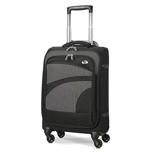 """Aerolite Super Lightweight Travel Carry On Cabin Hand Luggage Suitcase with 4 Wheels, Approved for Ryanair, Easyjet, British Airways, Virgin Atlantic, Flybe and Many More, 21"""", Black/Grey"""