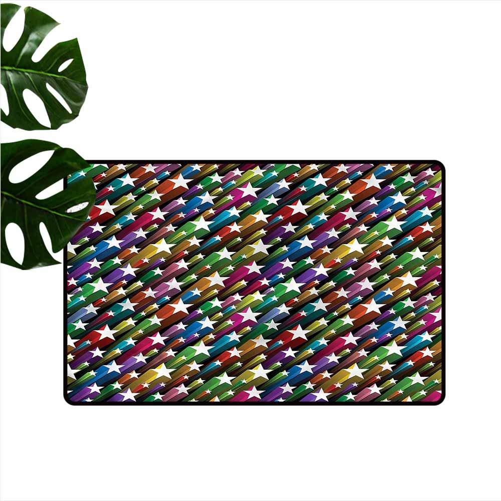 "HOMEDD Welcome Doormat,Colorful Festive Stars Disco,Customize Door mats for Home Mat,24""x16"""