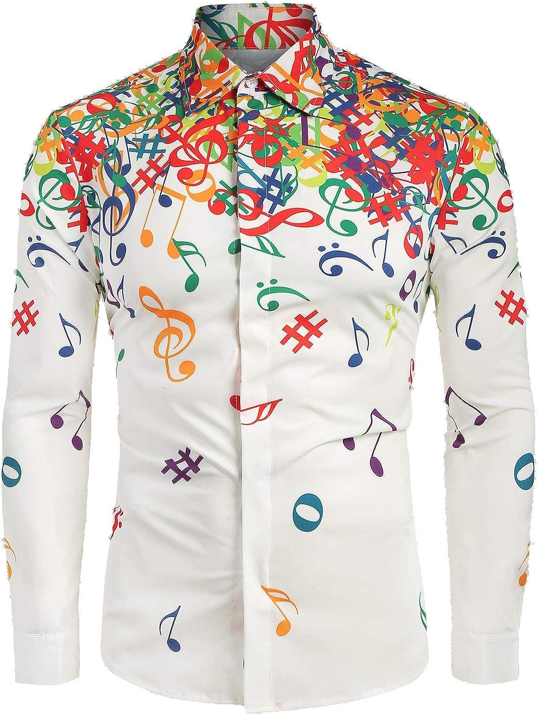 SSLR Mens Musical-Note Printed Button Down Casual Long Sleeve Shirt