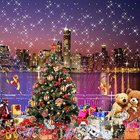 gladsbuy christmas city night 8 x 8 computer printed photography backdrop christmas theme background - Christmas City Studios