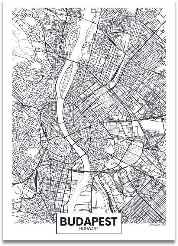 KMAOMAOZSH Prints Canvas,Budapest World Map Art Print Pictures Wall Modular Modern Poster Black and White Minimalist Quotes for Home Living Room Bedside Decorative@20X30Cm_No_Frame