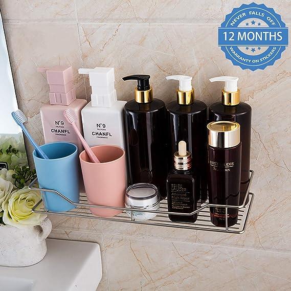 HOKIPO reg; Magic Sticker Series Stainless Steel Self Adhesive Wall Mounted Bathroom Shelf Bathroom Shelves