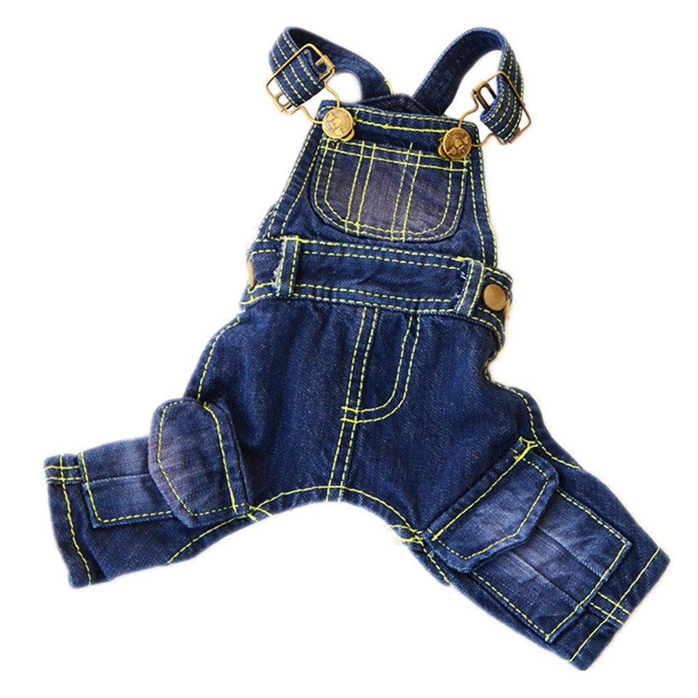 Tromy Pet Jean Clothes Dog Denim Overall/Poloshirt 2 Styles 5 Sizes S1,M