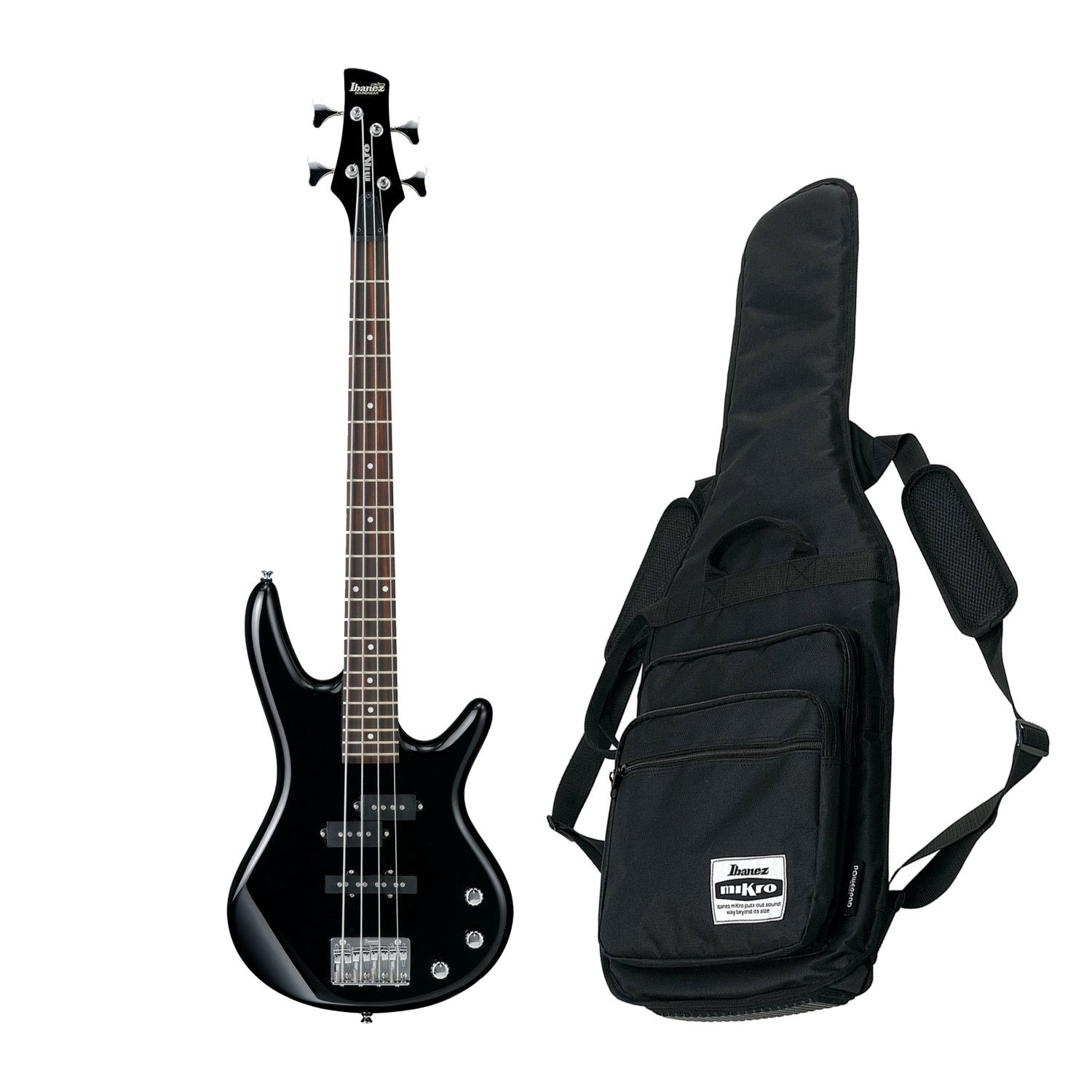 Ibanez GSR Mikro Compact Electric Bass Guitar (Black) w/ Free Ibanez Gig Bag GSRM20BK BUNDLE