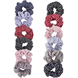 Wooyaya 12pcs Polka Dot and stripe Hair ties Elastics Scrunchies Hair Bands Ties Accessories for Women Girls