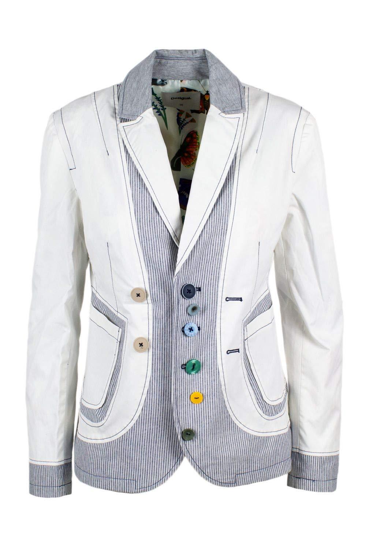 Desigual Women's 19SWEW99WHITE White Polyamide Blazer