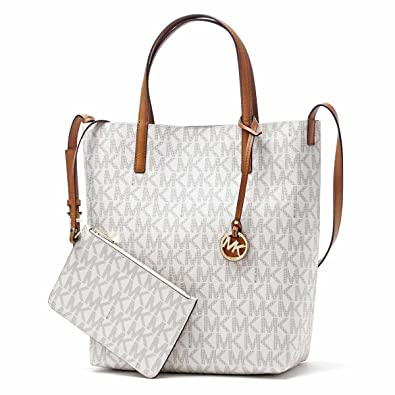 63d9da2044de Amazon.com: MICHAEL Michael Kors Hayley Large Convertible Tote (Signature  Vanilla): Shoes