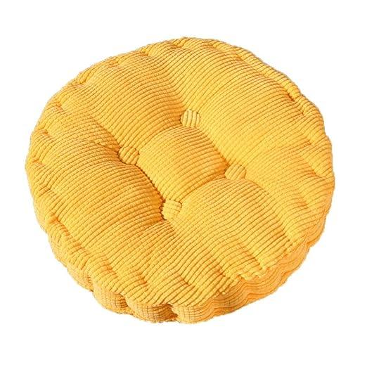 MSYOU - Cojín de asiento para silla (redondo, cómodo, para casa, cocina, jardín, comedor, oficina, 40 x 40 cm), color azul oscuro 40 * 40cm amarillo