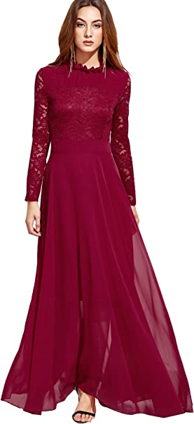 SheIn Damen Cocktail Kleid Gr. XL, Bordeaux: Amazon.de: Bekleidung