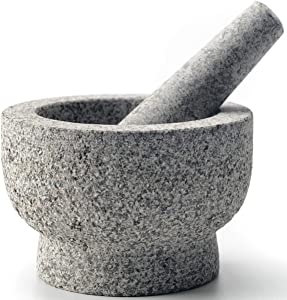 cookwise Mortar and Pestle set 2 cup easy to clean made for lifetime, with bamboo brush inside, unpolished granite stone, large and heavy, guacamole and spice grinder