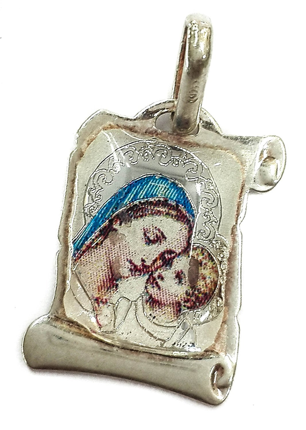 Virgin Mary With Infant Jesus Pendant Silver 925 Russian Blessing by Holy Land Gifts