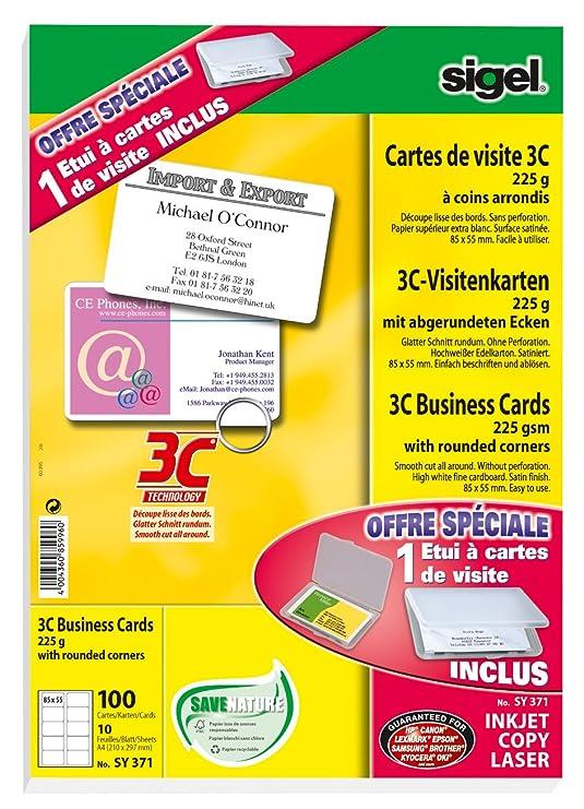 SIGEL SY371 100 Visitenkarten 85 X 55 Mm Mit Tasche Amazonde Burobedarf Schreibwaren