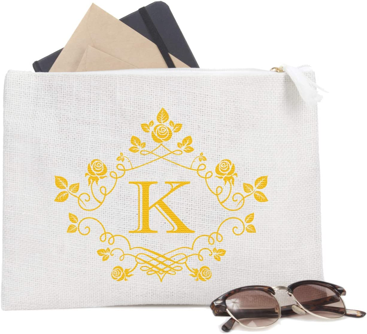 ElegantPark K Initial Monogram Personalized Travel Makeup Cosmetic Bag Jute Clutch Pouch Gifts with Zipper