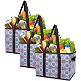 Foraineam Reusable Grocery Bags Set Durable Heavy Duty Tote Bag Collapsible Grocery Shopping Box Bag with Reinforced…