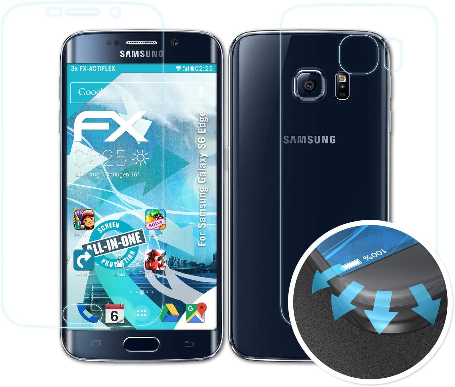 atFoliX Película Protectora para Samsung Galaxy S6 Edge Protector Película, Ultra Claro y Flexible FX Lámina Protectora de Pantalla (Set de 3): Amazon.es: Electrónica