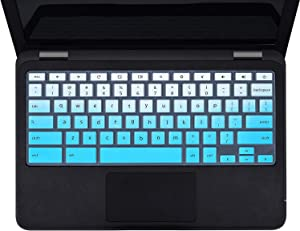 "Keyboard Cover Skins Compatible with 13.3"" Dell Chromebook 3380 &Dell 11.6"" Chromebook C3181 & 11.6"" Dell Chromebook 11 3120 3180 3181 3189 5190,Dell 11.6 13.3 Chromebook Laptop Cover(Ombre Blue)"