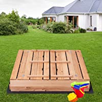 Deals on Kids Outdoor Foldable Retractable Sandbox with Bench Seat