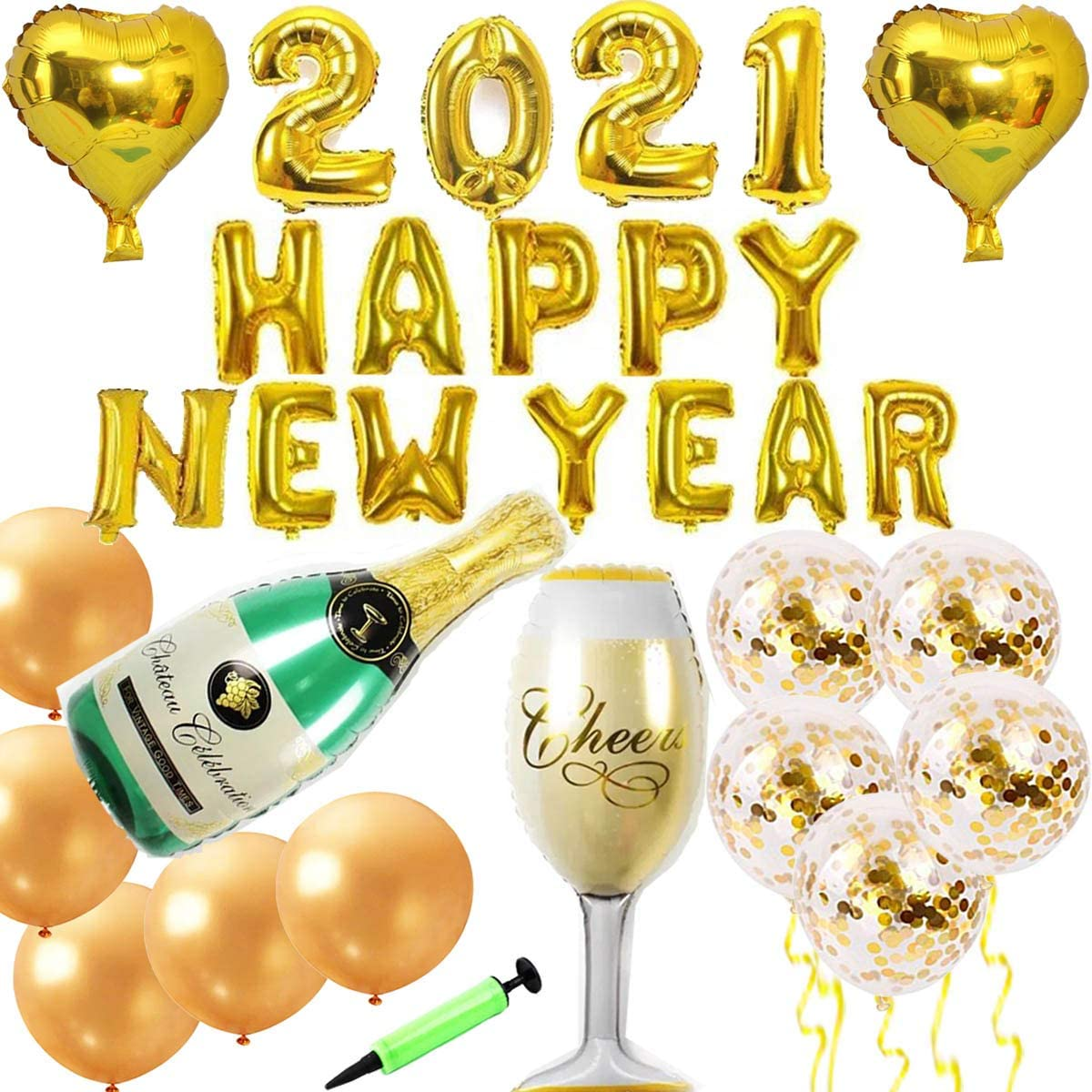 2021 Happy New Year Black Foil Balloons Wine Bottle Balloon New Year Party Decor