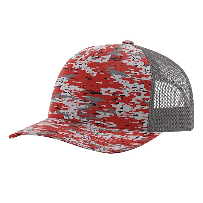 81519fdfb Twill Mesh Back Trucker Snapback Hat -- RED DIGITAL CAMO/CHARCOAL