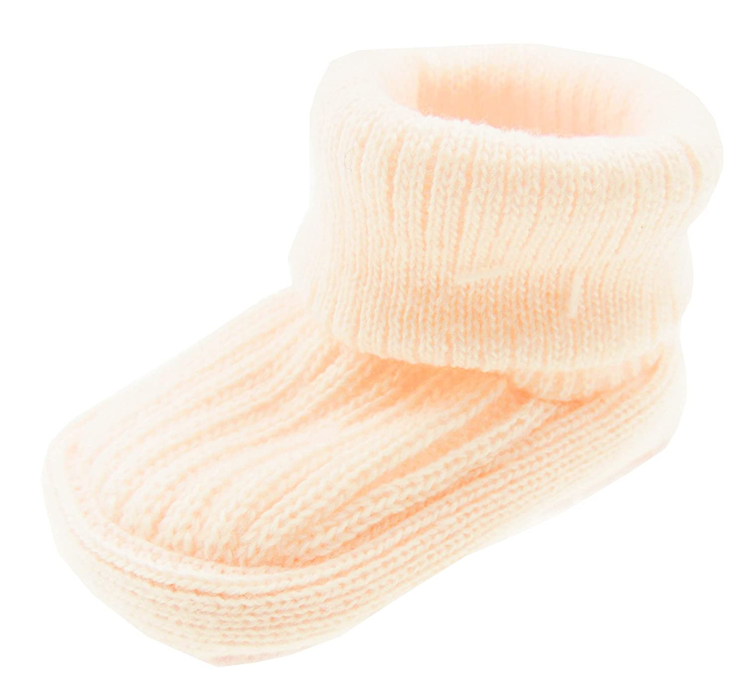 Adorable Baby Girls Boys Super soft Ribbed Knit Booties Socks Newborn Cream Glamour Girlz