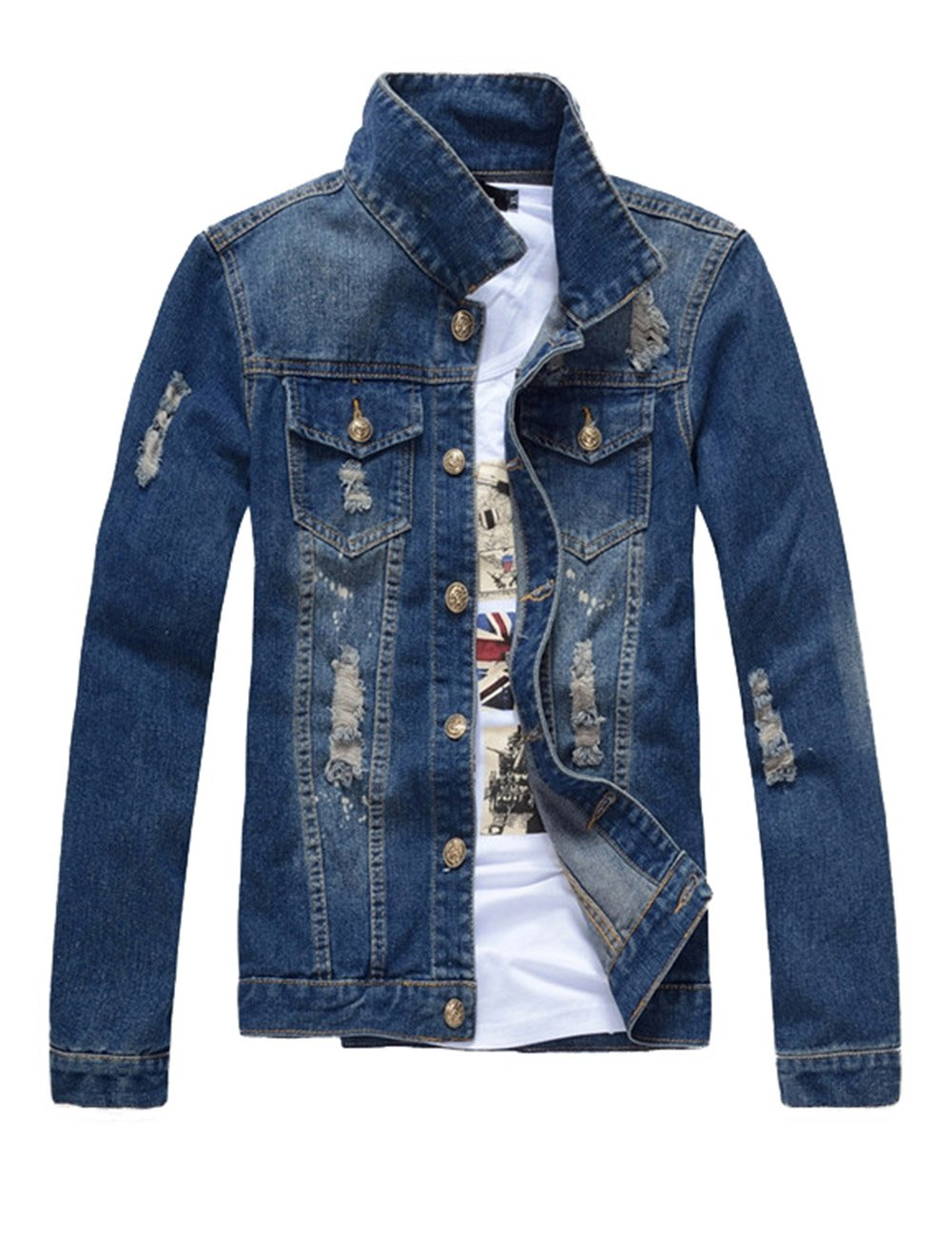 DSDZ Mens Classic Ripped Motorcycle Denim Jacket With Hole Blue M(Asian 2XL) by DSDZ